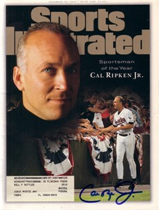 Cal Ripken autographed Baltimore Orioles 1995 Sports Illustrated Sportsman of the Year