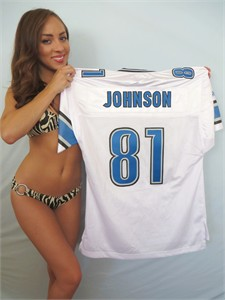Calvin Johnson Detroit Lions 2009-2011 authentic Reebok white stitched jersey