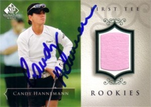 Candy Hannemann autographed 2004 SP Signature golf tournament worn shirt card