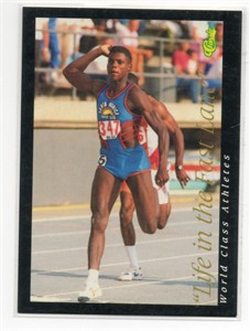 Carl Lewis 1992 Classic World Class Athletes Life in the Fast Lane promo card