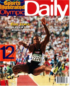 Carl Lewis autographed 1996 Sports Illustrated Olympic Daily magazine
