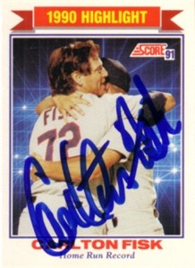 Carlton Fisk autographed Chicago White Sox 1991 Home Run Record card
