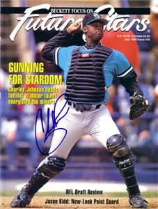 Charles Johnson autographed Florida Marlins Beckett magazine cover