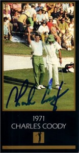 Charles Coody autographed 1971 Masters Champion golf card