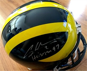 Charles Woodson autographed Michigan Wolverines Riddell full size helmet inscribed Heisman 97 (GTSM)