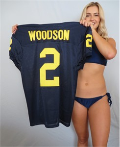 Charles Woodson Michigan Wolverines blue stitched #2 game cut jersey NEW