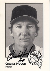 Charlie Hough autographed 1993 Florida Marlins photo card