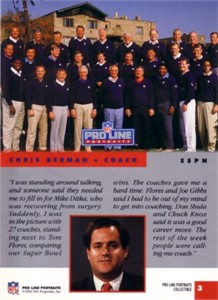 Chris Berman & NFL Coaches 1992 Pro Line Portraits Collectible insert card #3