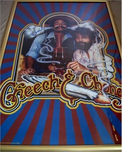 Cheech Marin and Tommy Chong autographed vintage 23x35 inch poster framed
