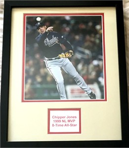 Chipper Jones Atlanta Braves 8x10 photo double matted & framed to 11x14