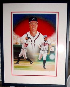 Chipper Jones autographed Atlanta Braves giclee art matted & framed #11/110