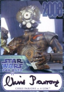 Chris Parsons Star Wars certified autograph card