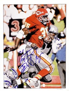 Christian Okoye autographed Kansas City Chiefs full page color artwork