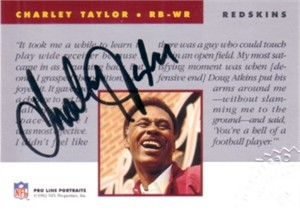 Charley Taylor certified autograph Washington Redskins 1992 Pro Line card