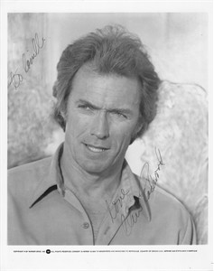 Clint Eastwood autographed 8x10 black & white 1980s publicity photo (to Camille)