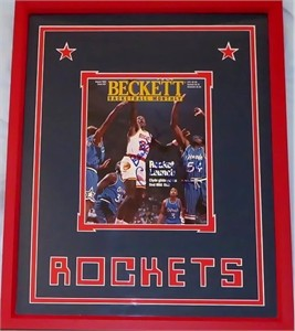 Clyde Drexler autographed Houston Rockets 1995 Beckett Basketball magazine cover inscribed Best Wishes! matted & framed