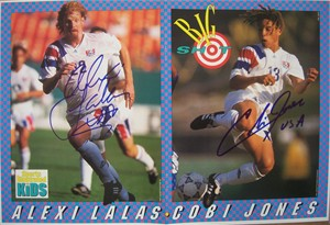 Cobi Jones & Alexi Lalas autographed 1994 US Soccer SI for Kids poster