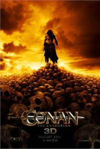 Conan the Barbarian mini 2011 movie poster standing on skulls (Jason Momoa)