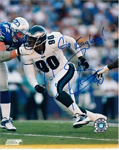 Corey Simon autographed Philadelphia Eagles 8x10 photo inscribed Go Eagles!