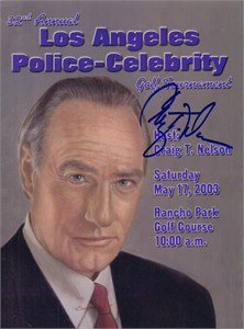 Craig T. Nelson autographed 2003 LAPD Celebrity Golf program cover