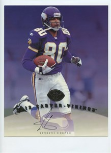 Cris Carter autographed Minnesota Vikings 1997 Leaf 8x10 photo card