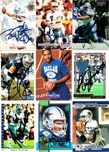9 Dallas Cowboys autographed 1990s cards (Bill Bates Nate Newton Tony Tolbert)