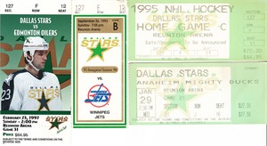 Dallas Stars lot of 4 vintage 1990s home game ticket stubs (Mike Modano)
