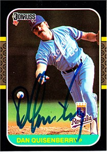 Dan Quisenberry autographed Kansas City Royals 1987 Donruss card