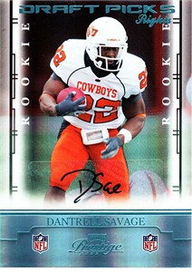 Dantrell Savage Oklahoma State certified autograph 2008 Playoff Prestige Rookie Card #208/250