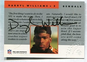 Darryl Williams Bengals certified autograph 1992 Pro Line card