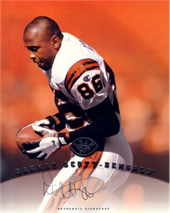 Darnay Scott certified autograph Cincinnati Bengals 1997 Leaf 8x10 photo card