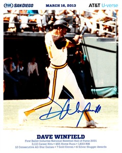 Dave Winfield autographed San Diego Padres 8x10 promotional photo