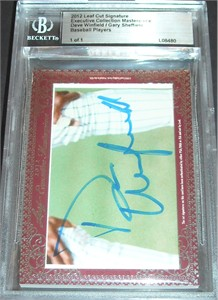 Dave Winfield & Gary Sheffield certified autograph 2012 Leaf Executive Masterpiece Dual Cut Signature card #1/1