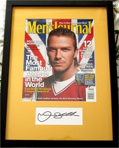 David Beckham autograph matted & framed with Men's Journal magazine cover