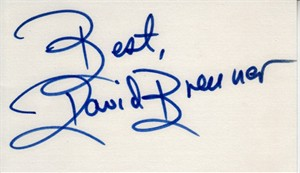 David Brenner autographed index card