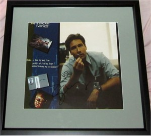 David Duchovny autographed X-Files calendar page matted & framed