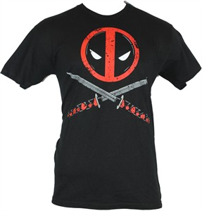 Deadpool logo with crossed swords Marvel black size LARGE T-shirt BRAND NEW