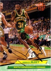 Derrick McKey autographed Seattle Sonics 1992-93 Ultra card