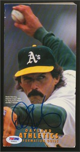 Dennis Eckersley autographed 1993 Oakland Athletics media guide (PSA/DNA)