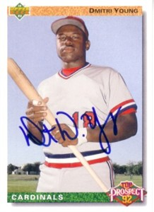 Dmitri Young autographed 1992 Upper Deck card