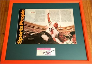 Don Shula autographed Miami Dolphins NFL Career Win #325 ticket stub & photo matted & framed
