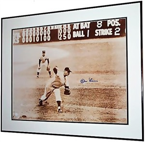 Don Larsen autographed New York Yankees 1956 World Series Perfect Game 16x20 poster size photo matted & framed (Steiner)
