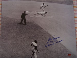 Don Newcombe autographed Brooklyn Dodgers 16x20 poster size photo inscribed NL ROY 49 & Cy Young 56 NL MVP