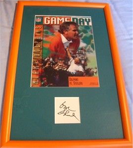 Don Shula autograph matted & framed with Miami Dolphins program cover