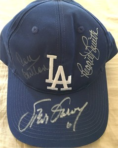 Steve Garvey Reggie Smith Don Sutton autographed Los Angeles Dodgers cap
