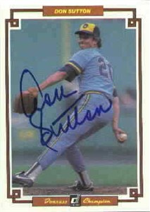 Don Sutton autographed Milwaukee Brewers 1984 Donruss Champions jumbo card