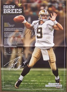 Drew Brees autographed New Orleans Saints Sports Illustrated for Kids mini poster