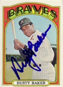 Dusty Baker autographed Atlanta Braves 1972 Topps card