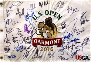Dustin Johnson autographed 2016 U.S. Open embroidered golf pin flag