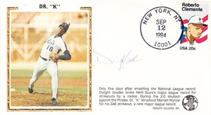 Dwight Gooden autographed New York Mets 1984 rookie strikeout record cachet envelope